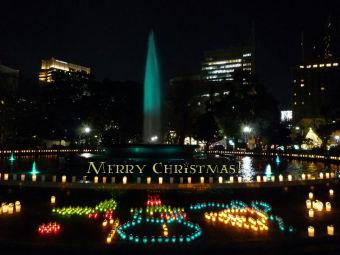 クリスマスカード(日比谷公園☆雪だるま)1024x768